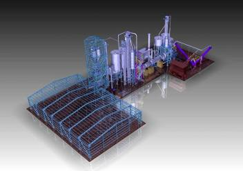 Gypsum Factory - 3D design view